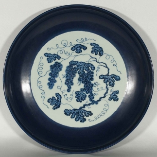 Blue Rimmed Charger with Grapes Design