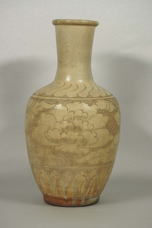 Bottle Vase with Sgraffito Peony Design