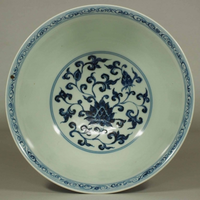 Bowl with Lotus and Flower Scroll Design