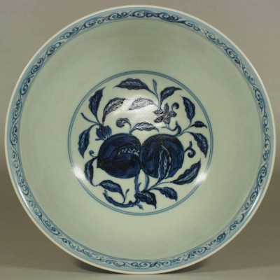 Bowl with Peaches and Flower Scroll Design