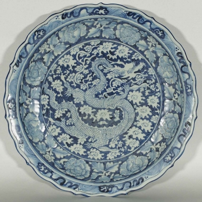 Charger with Dragon Among Clouds and Embossed Peony Design