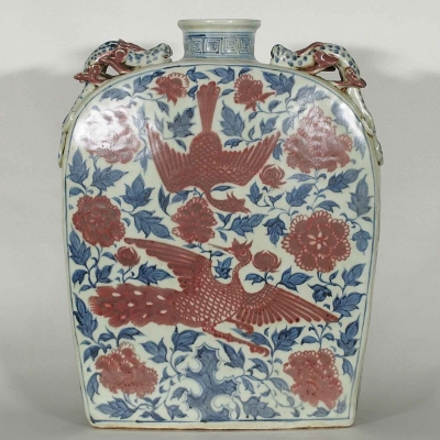 Flask with Phoenix and Peony Design