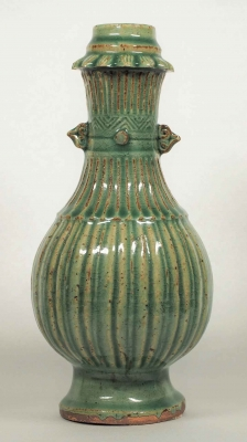 Fluted Vase with Chrysanthemum-Shaped Neck Design
