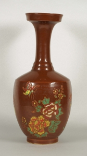 Gilt-Painted Vase with Polychrome Floral and Kids Design
