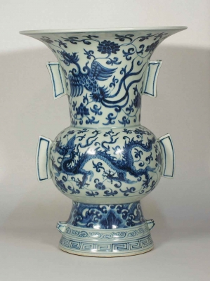 Gu-Form Vase with Dragon and Phoenix Design