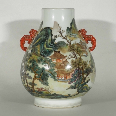 Hu-Form Vase with Scenery and Dragon Handle
