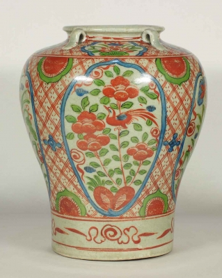 Jar with Four Lugs and Flower Design