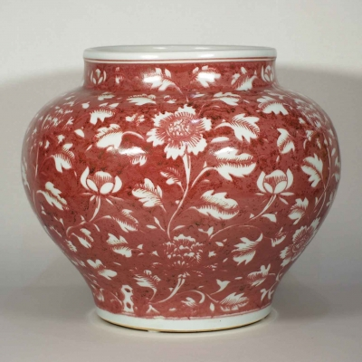 Jar with Peony on Red Background Design