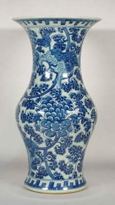 Large Gu-Form Vase with Qilin and Flowers Scroll Design