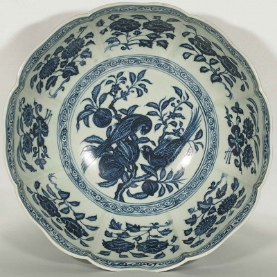 Large Lobed Bowl with Parrots and Peaches Design