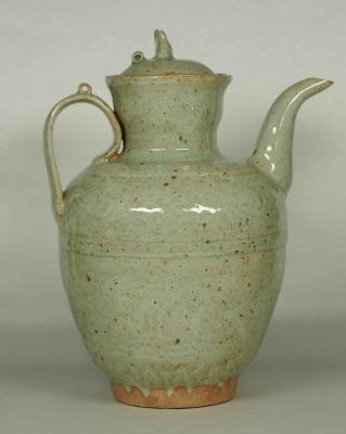 Lidded Ewer with Impressed Moulded Design