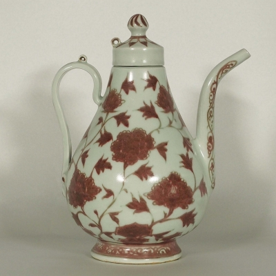 Lidded Ewer with Peony and Chrysanthemum Design