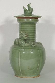 Lidded Funerary Urn with Tiger Design
