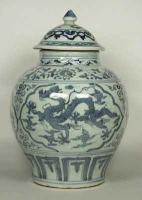 Lidded Jar with Dragon Design