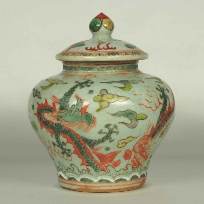 Lidded Jar with Dragon and Phoenix Design
