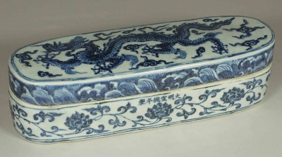 Lidded Pen Box with Dragon Design