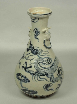 Lion-Head Handle Bottle Vase with Dragon Design