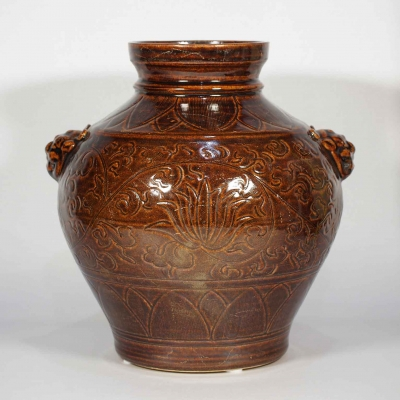 Lion-Head Handled Jar with Carved Peony Design