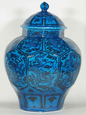 Octagonal Lidded Jar with Dragon and Phoenix Design