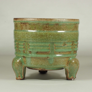 Oil-Spot Crackled Censer with Eight Trigrams Design