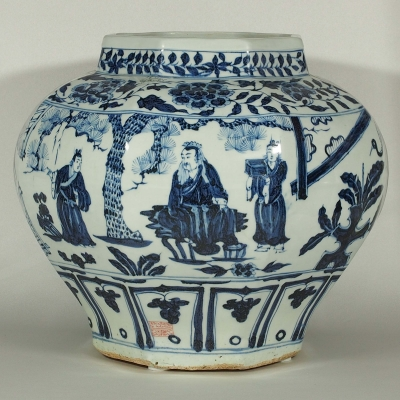 Persian Marked Octagonal Jar with Three Visits Scenes Design