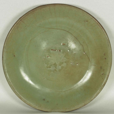 Plate with Impressed Lotus Design