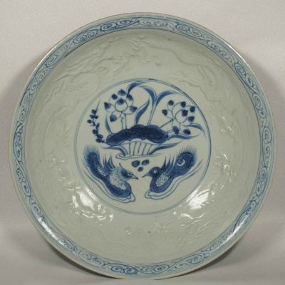 Plate with Mandarin Ducks and Embossed Dragon Design