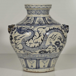 Qilin-Head Handle Jar with Dragon Design