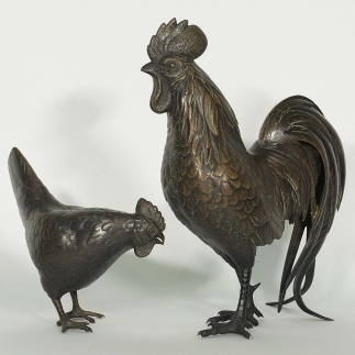 Rooster and Hen Statues
