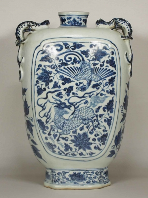 Stem Flask with Phoenix and Qilin Design
