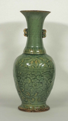 Vase with Embossed Peony Design