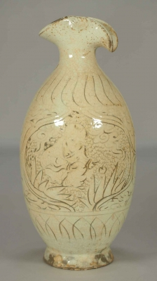 Wine Bottle with Sgraffito Boys Design